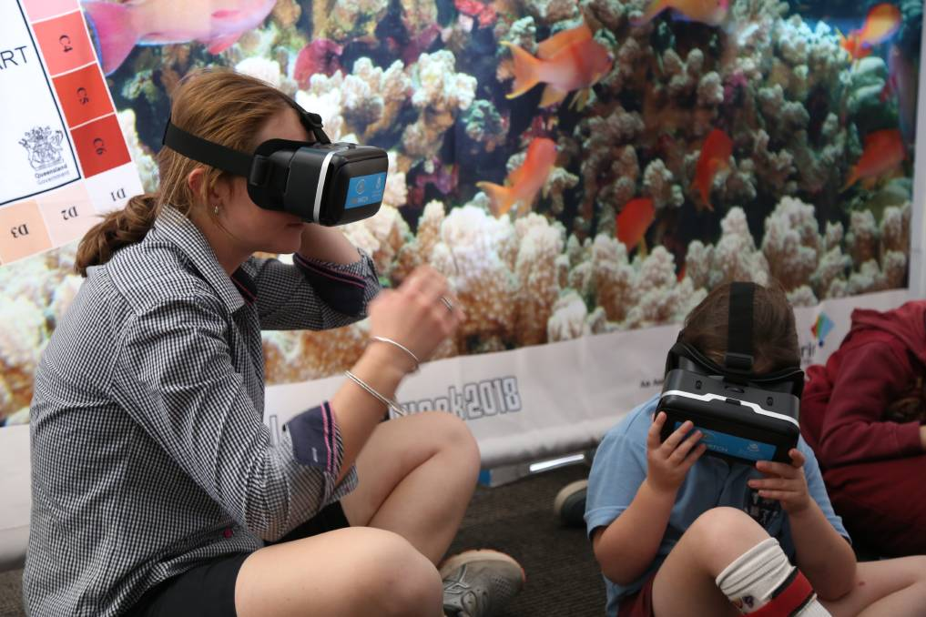 CoralWatch invites visitors to don virtual reality headsets to immerse themselves in a coral reef.