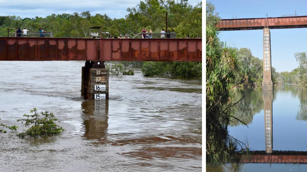 Katherine River over the weekend (left) and how it normally looks (right). Main photo: Roxanne Fitzgerald.
