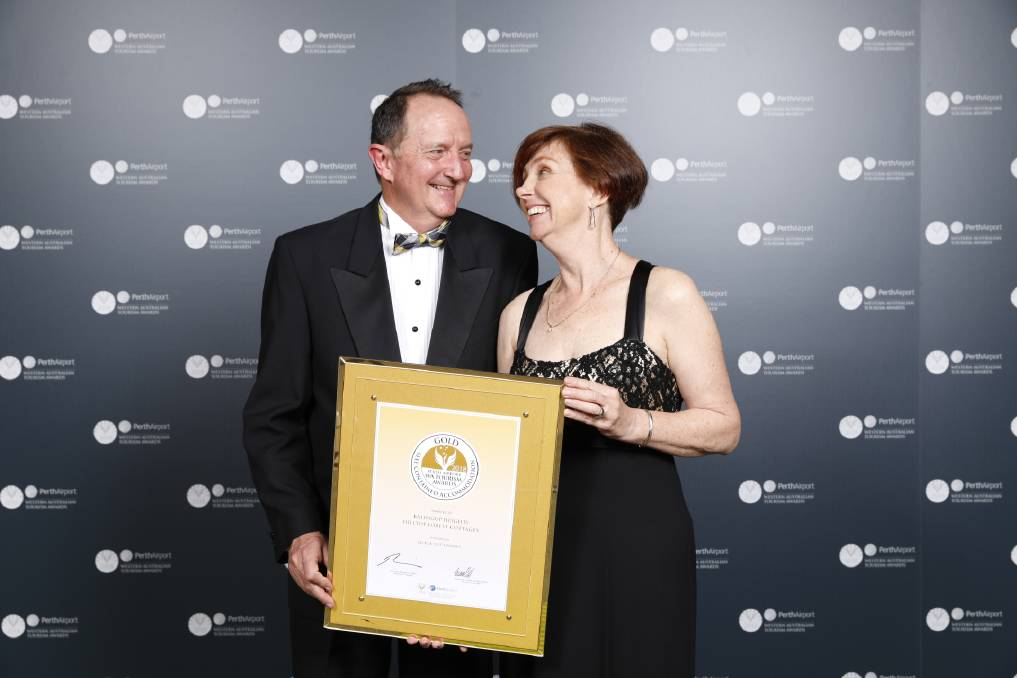 WINNERS: Balingup Heights Hilltop Forest Cottages owners Deb and Brian Vanallen were thrilled to be awarded gold in the 2018 Perth Airport Western Australia Tourism Awards. Photo: supplied.