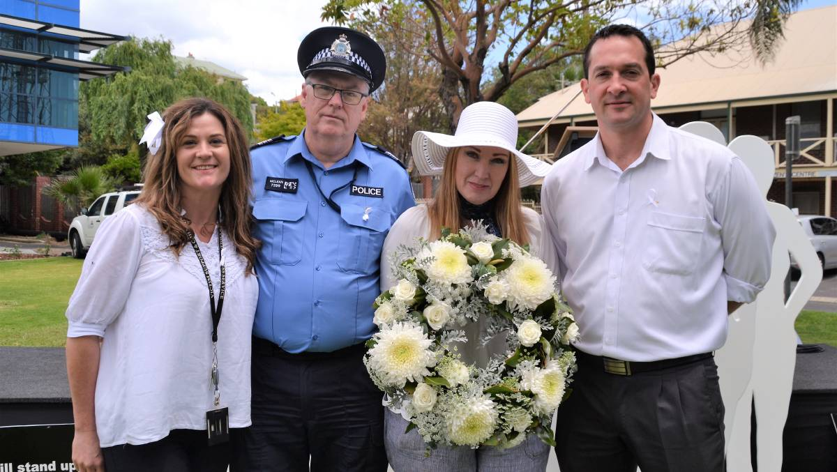 White Ribbon Day 2018 organiser Hovea Wilkes, South West Family Domestic Violence Unit officer in charge Don McLean with guest speakers Leah Bowman and Gareth Reed. Photo by Emily Sharp.