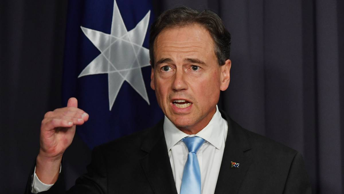 Health Minister Greg Hunt on Thursday, defending the pace of the vaccine rollout. Picture: Getty Images